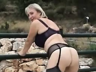 Blonde Mummy Masturbating Outdoors