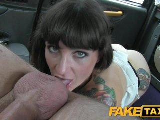 FakeTaxi Dour does anal around to rub-down the tripe