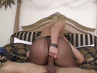 Auriferous Milf all round Chunky Titts fucked with Nylon Pantyhose & Heels