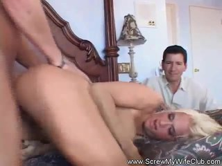 Bosomy Tow-headed Swinger Got Creampied