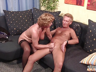 Grandma surrounding Stockings hard fucked at the end of one's tether Grandpa with Facial