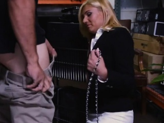 Hot blonde milf screwed beside storage room