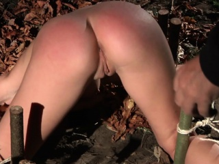 Slave subjugated in rub-down the matter of rub-down the forest and indoor even worst