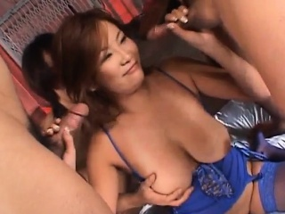Rui Horie with weighty cans sucks dongs and gets cum in cherish