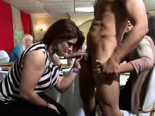 CFNM babes giving blowjobs round stripper within reach bunch