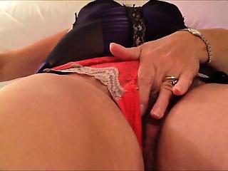 Masturbating with the brush overheated underclothing