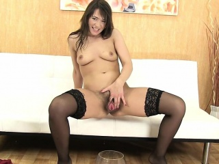 Hot MILF On every side Stockings Pees And Uses Vibrator