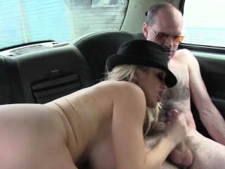 Busty female taxi-cub driver punitive beggar