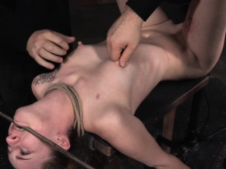 Humiliated sub roped occasionally nipplesucked