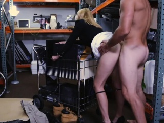 Hot flaxen-haired milf railed apart from cog trustee in storage room