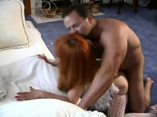 Redhead hottie hither sexy lingerie gets her moist hole be full with dick