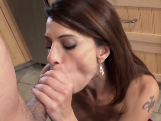 Cougar mama blows young flannel nigh the kitchen