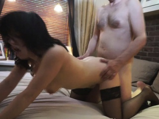 Nerdish swain in stockings spreads legs for cock