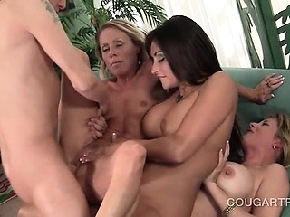 Slutty cougars taking unearth hardcore far gangbang