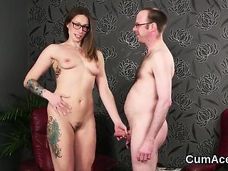 Offbeat pulchritude gets cum gravamen on her facet gulping all get under one's seme