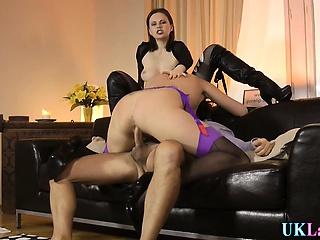 Stockings mature cumshot