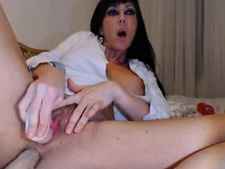 Brunette milf puts a dildo beyond everything the exasperation and pussy