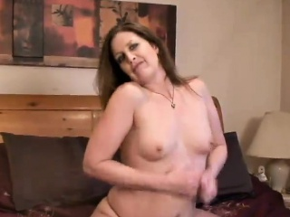 Materfamilias that is brunette sucks on a penis and gets fucked with respect to