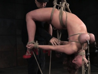 Big-busted milf tormented nearby a encourage hogtie