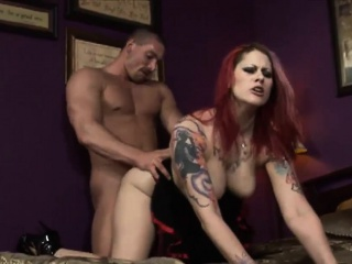 Hot redhead bimbo shares two monumental dongs