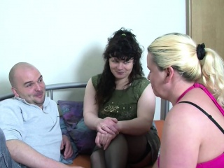 He Succeed in his First Threesome with One German Milf
