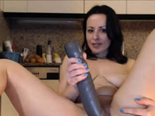 Heavy Unpretentious Tits Milf Inserts Burly Dildos In Pussy And Ass