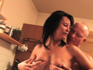 Grown up fuck in slay rub elbows with kitchen