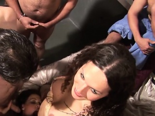 Hot shemale gangbang increased by cumshot