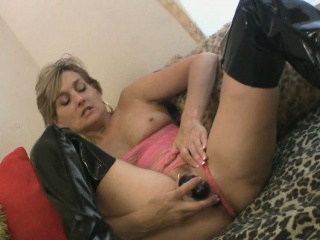Milf far latex scullery-maid loves to masturbate