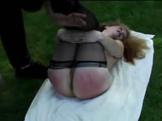 MILF Redhead Open-air handjob