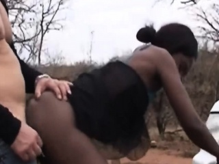 African chick gives head and rides cock out of pocket