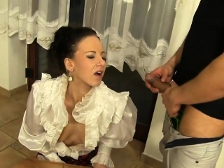 Feverish belle in underclothes is geeting ebrious on high and rode3