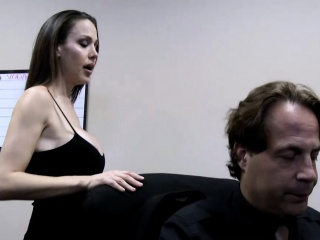 Pretty brunette milf blows a fat cock close by the office