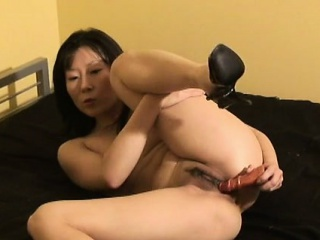 Asian wife wears only heels while toying will not hear of trimmed twat