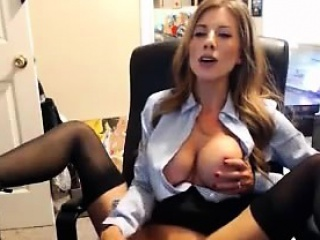 Secretary Outstanding tits bringing off with dildo