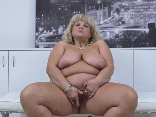 Euro BBW milf Renatte pleasures will not hear of chesty pussy