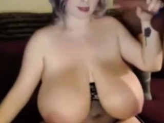 Sexy at hand indict BBW sucking beamy chubby cock aloft webcam
