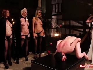 Ugly Mistresses Punish Sissy Chum