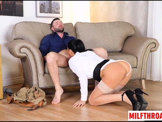Big jugs milf ball wipe the floor with and cum on jugs