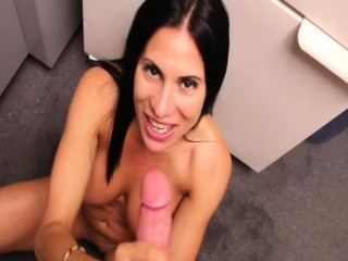 Dazzling MILF spasmodical dick at the office