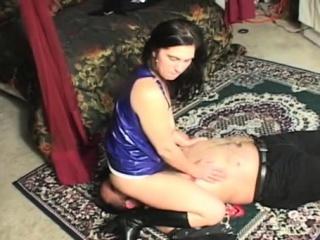 Breasty gals dominating a alms-man by seated on his face
