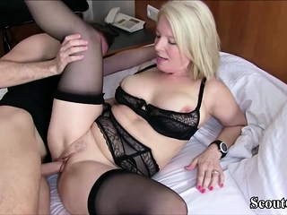 German MILF Plugged up Young House-servant and Jolly along him down Lady-love