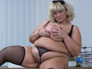 Euro BBW Dita works her pussy hither fingers with an increment of dildo