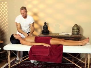 Smalltit babe pounded on burnish apply massage table