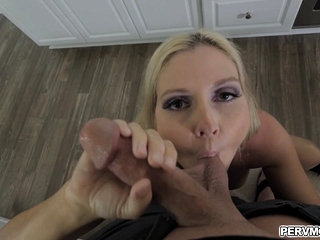 Stepsons cock working broadly in the sky stepmoms mouth