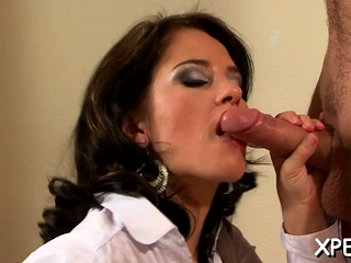 Cute doyenne doxy takes urinate near face and rides a steadfast balk
