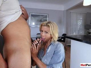 My hot MILF stepmother with big bosom blows my big weasel words