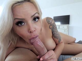 Nina Elle spreadeagle fuck by stepsons sloppy cock