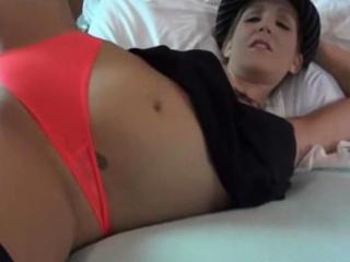 Hot big knocker spliced masturbates in bed then sucks a cock