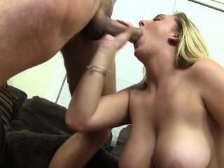 Busty ungentlemanly enjoys sucking a dick